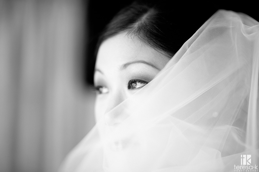 black and white bridal veil portrait