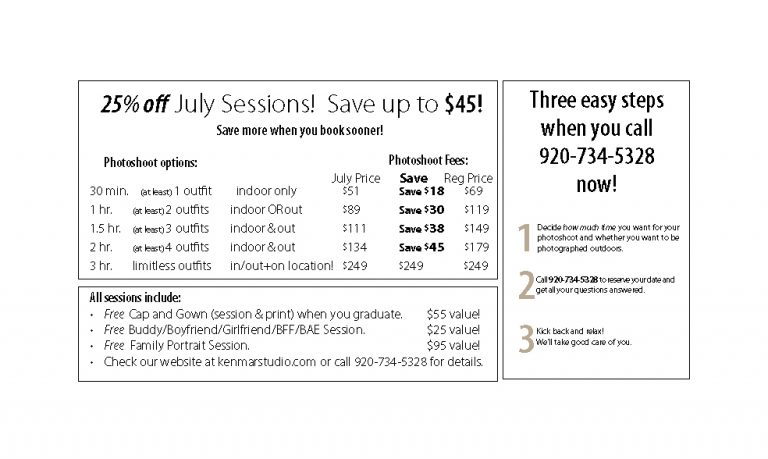 July Sessions still 25% off!Save up to $45!
