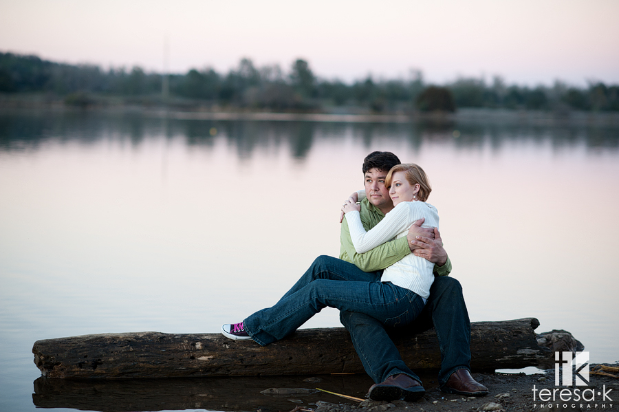 engagement session at the lake in Folsom by Folsom wedding photographer, Teresa K photography