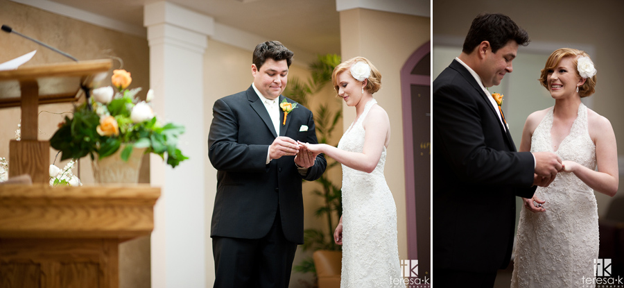 bride and groom exchange rings at Jehovah's witness hall in Lincoln, Ca