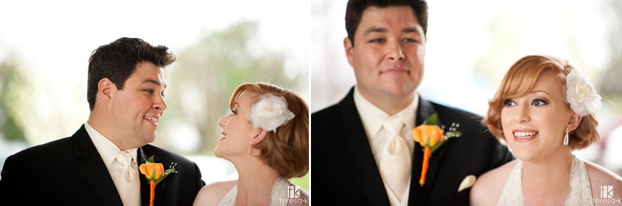 bride and groom portraits at Jehovah witness hall in Lincoln