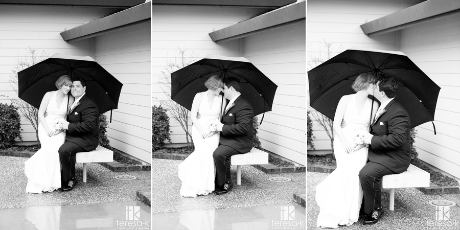 b&w rainy day bride and groom portraits in Lincoln, ca