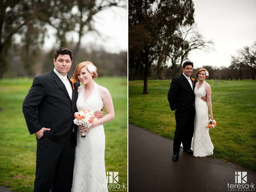 rainy day bride and groom portraits in Lincoln, ca