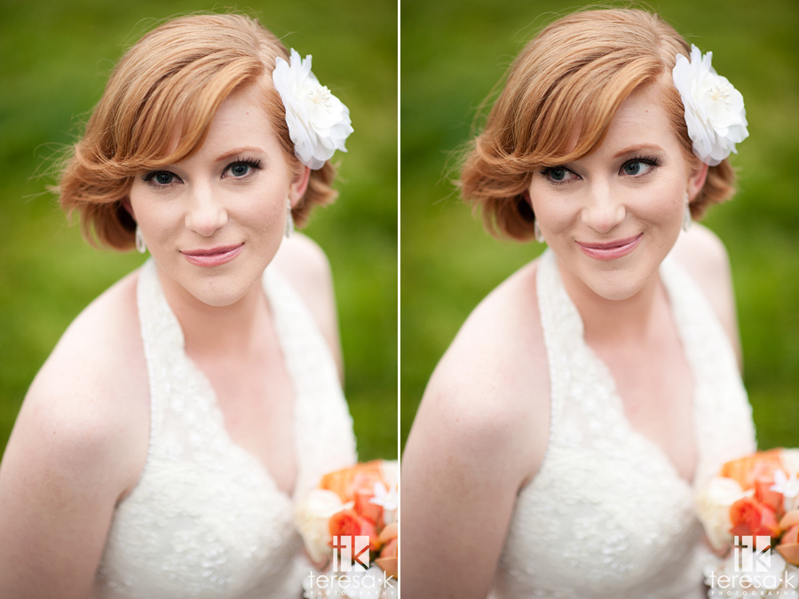 red haired bridal portrait