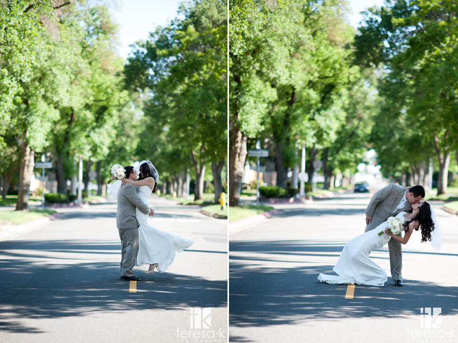 bride and groom pictures in the middle of a tree lined road
