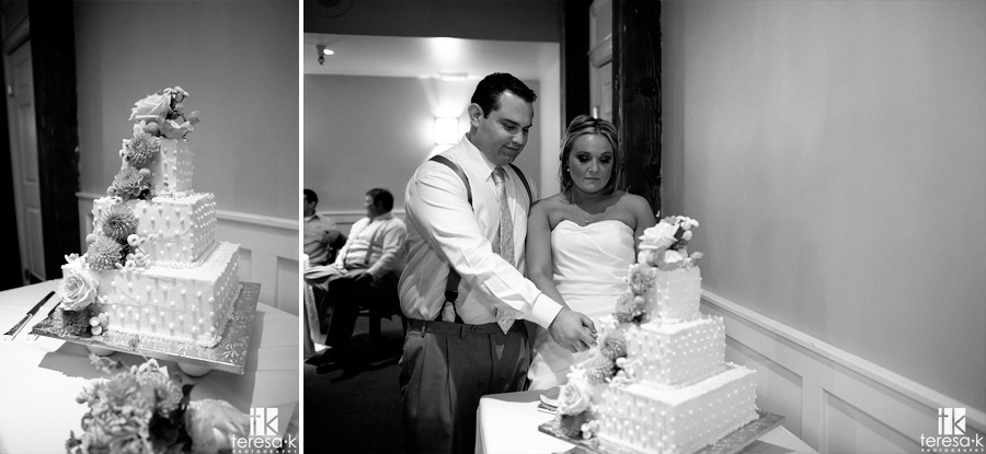 groom and bride smash cake in each others face