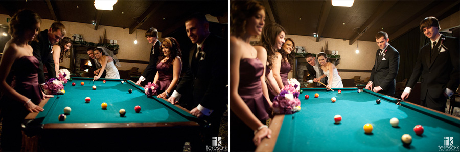 pool table bridal party shot at Arden hills