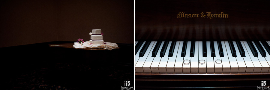 wedding rings and cake on a piano