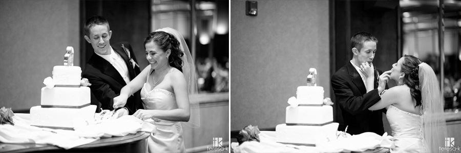 bride and groom cut the cake at Arden hills country club