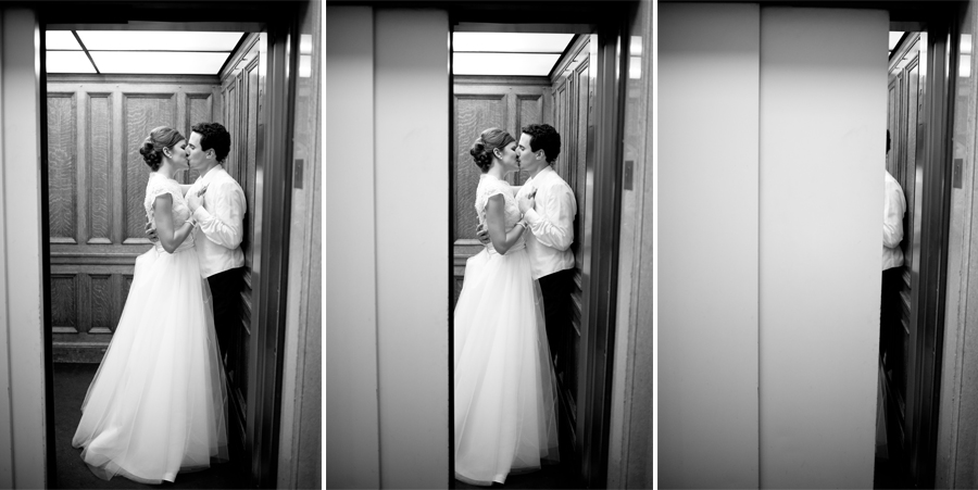 elevator kiss shot of bride and groom