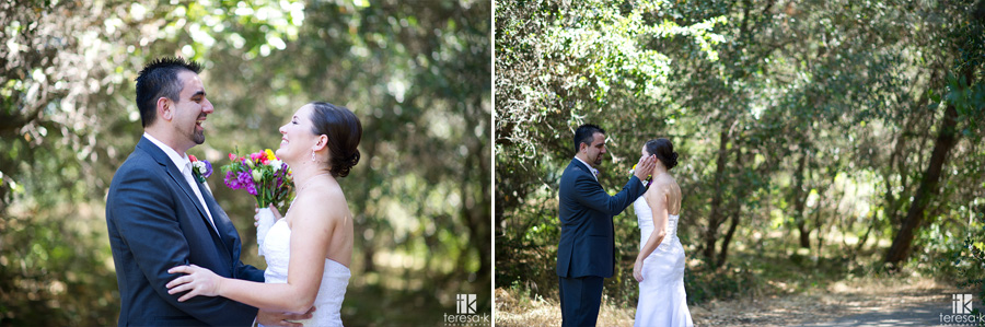 bride and groom portrait at Folsom lake