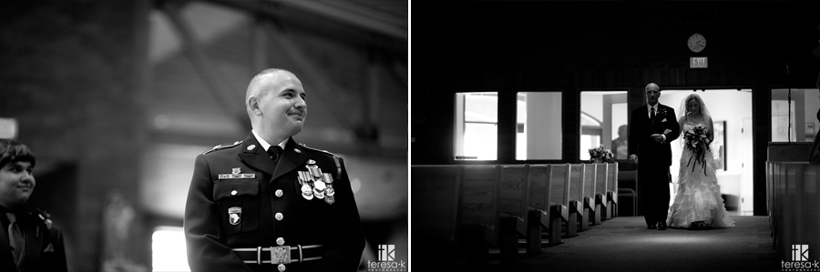 army groom watching bride come down the aisle