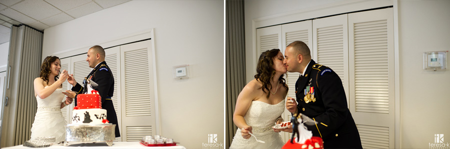 bride and groom kiss after feeding cake