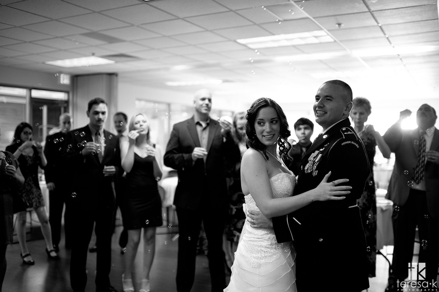 bride and army groom's first dance