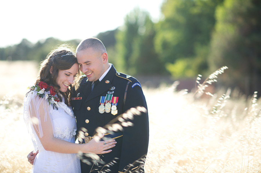 romantic vintage army and lace bride