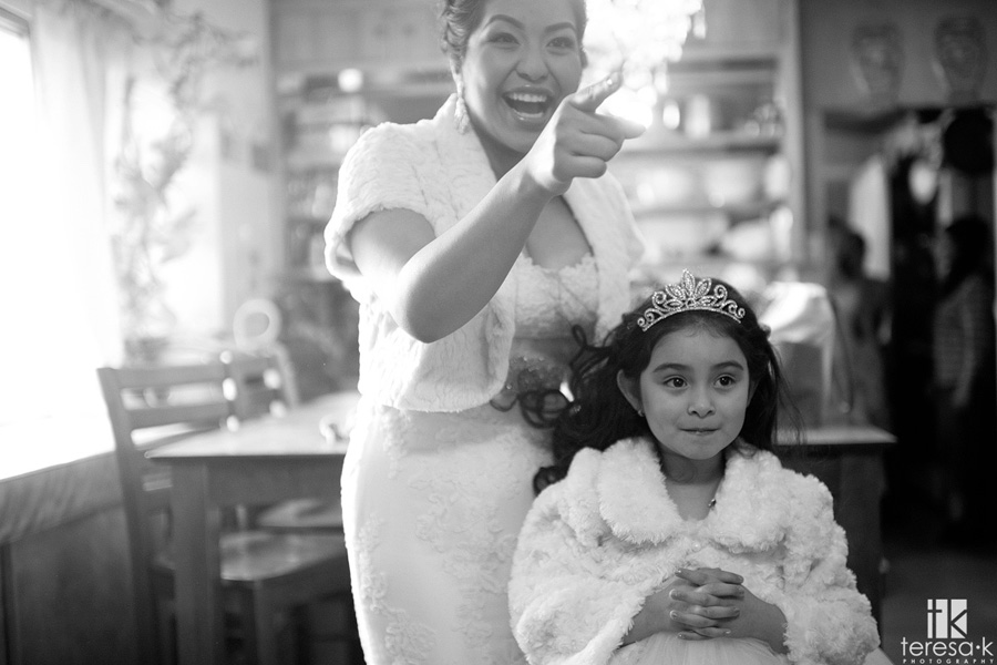 bride and flower girl princesses in Oakland
