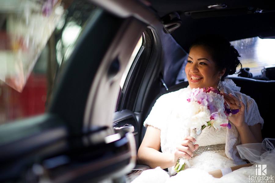 bride rides in limo to Oakland wedding