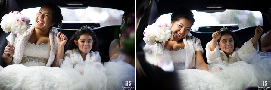 bride and flower girl rock out in the limo