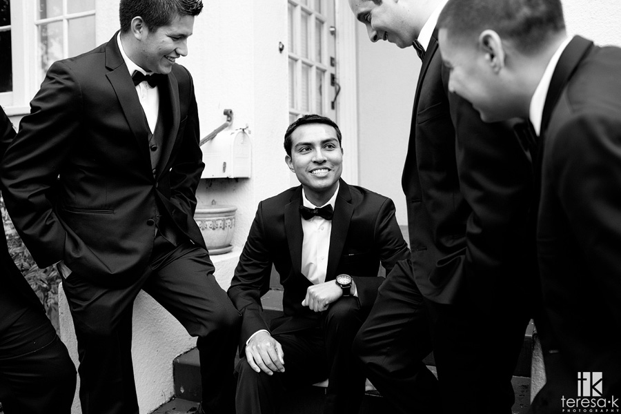 groom and groomsmen hanging out before wedding
