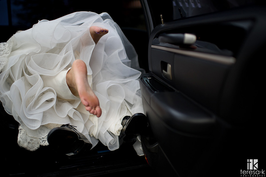 creative limo shot of bride and groom
