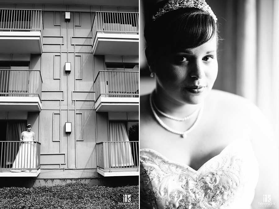black and white bridal portrait at the doubletree in sacramento